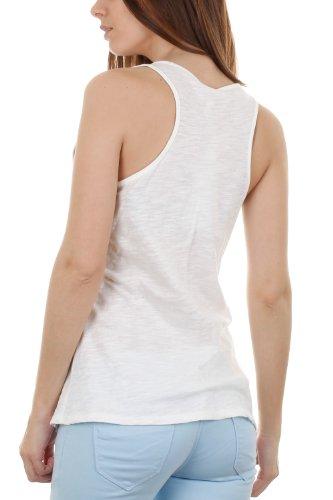Netz-Tank Top Girly surperposé von kleinen Nieten Weiß - weiß