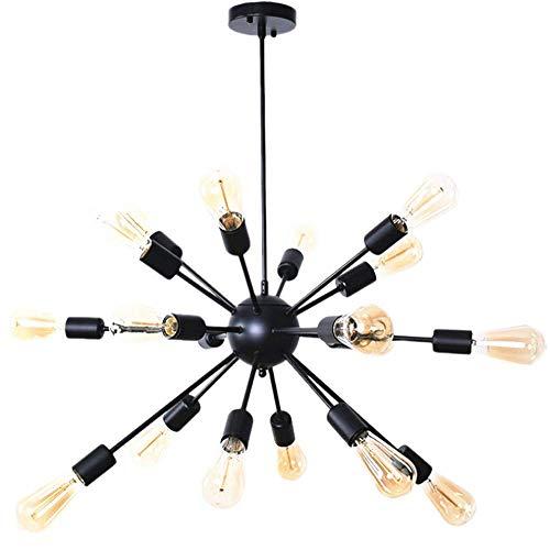 Xiao Yun ☞ Moderne Pendelleuchte 12 Lichter / 18 Lichter Kronleuchter Retro Deckenleuchte Schwarz (Größe: 18-Lights) ☜ - Stahl Zwölf Light Kronleuchter