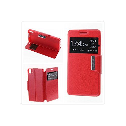 MISEMIYA - Schutzhülle Cover für BQ Aquaris E5s / E5 4G LTE/FNAC PHABLET 2 5 4G - Hüllen, Cover View Unterstützung, Rot
