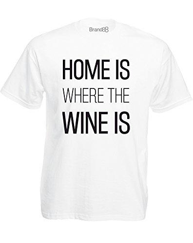 Brand88 - Home is Where the Wine is, Mann Gedruckt T-Shirt Weiß/Schwarz
