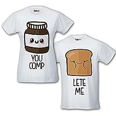 Idea Regalo - Coppia di T Shirt Magliette You Complete Me Pane e Cioccolata Bianche Uomo L Donna L