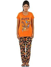 New Darling Womens VIVID ORANGE ECLIPSE AOP Cotton Pyjama Sets