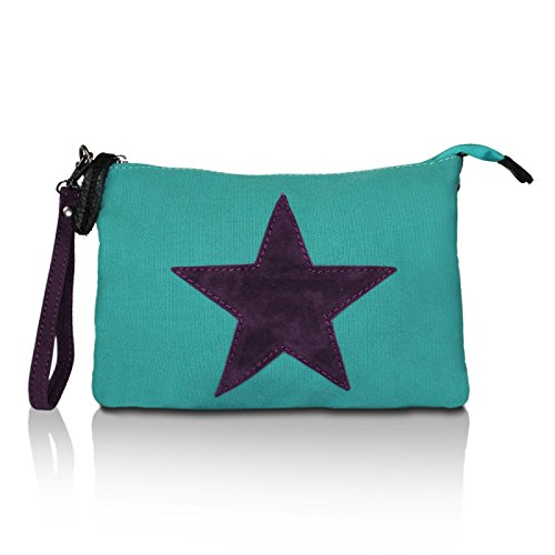 Glamexx24 Ladies Shoulder Bag Umhaengetasche Star Print Tote émeraude