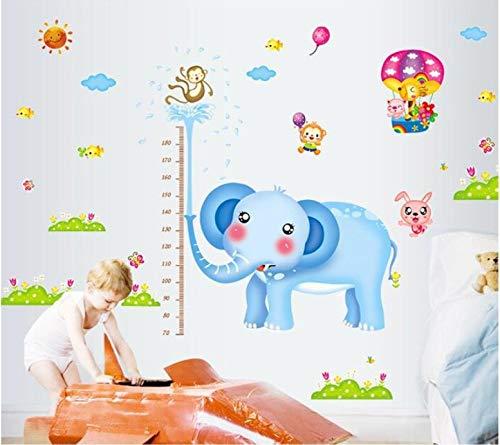 (Qjhdg Elefant Höhe Aufkleber Kinderzimmer Cartoon Schlafzimmer Baby Kindergarten Klassenzimmer Dekoration Wandaufkleber 60X90 Cm)
