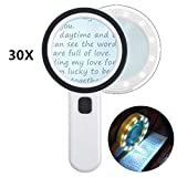 Magnifying Glass with Light, 30X Handheld Large Magnifying Glass 12 LED Illuminated Lighted