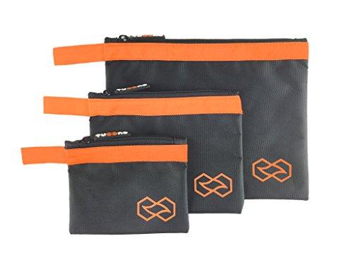 Reissverschlusstasche I Werkzeugtasche I Beutel mit Reißverschluss – praktische Organizer Tasche, wasserdicht, aus ballistischem Nylon – 3er/ 4er Sets in versch. Größen & Farben (verschiedene Grössen, orange)