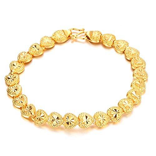 skyjewelry Lady 's Real 18K Gelb Vergoldet Geschnitzt Damen Armband Herz Kette Link 20,3cm Länge