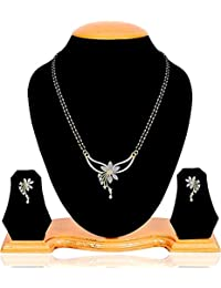 Quail Manufacture Price 1G Gold Plated American Diamond Traditional High Selling Mangalsutra Set for Women with Earrings Available in Long & Short Length