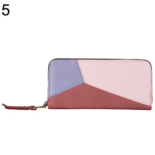 Coupon Matrix - Bangle009 Clearance Sale Fashion Women Zipper Color Blocking Long Wallet Pouch Card Cash Holder Purse Purple