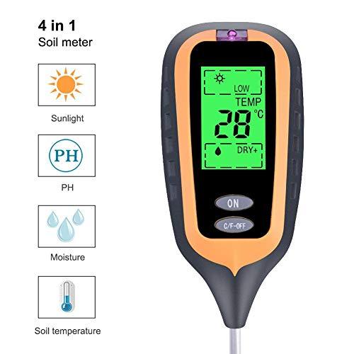 Bodentester 4 in 1 Multifunktionaler Bodenanalysator Feuchtemessgerät Licht und PH-Tester für Feuchte- und Lichtprüfgerät für Zuhause Thermometer Garten, Rasen, Bauernhof, Innen- und Außenbereich