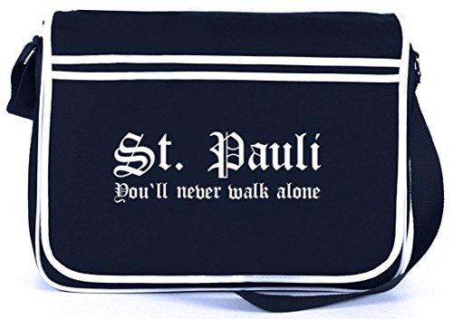 Shirtstreet24, ST.PAULI, Retro Messenger Bag Kuriertasche Umhängetasche Navy