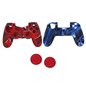 MagiDeal 2x Silikon Schutz Griff Hülle Haut & 2x Joystick Kappen Geeignet für Sony PS4-Controller – ROT & Blau farbig