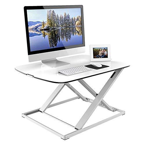 Table FEI - Stehschreibtisch Ultra Slim höhenverstellbar Sit-Stand Schreibtisch Kompakt Computer-Arbeitsplatz weiß für alle Arbeitsstationen