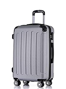 BEIBYE 2045 Hartschale Koffer Kofferset Trolley Reisekoffer Größe XL-L-M in 12 Farben (Silber, M)