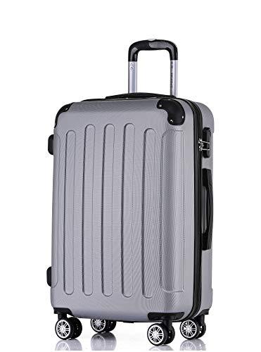 BEIBYE Hartschalen-Koffer Trolley Rollkoffer Reisekoffer Handgepäck 4 Rollen (M-L-XL-Set) (Silber, XL)