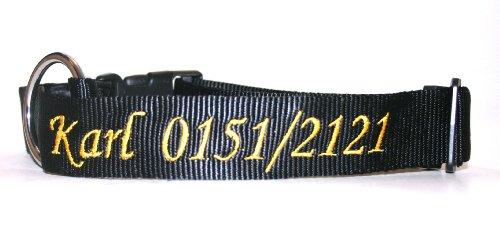 Hunde Halsband mit Namen und Telefonnummer bestickt (Breite 20 mm, Länge 40 – 55 cm), verschiedene Farben - 6