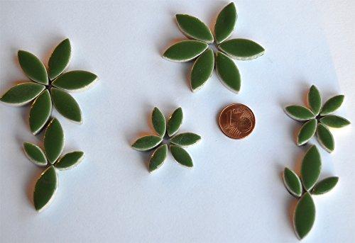 36 St.Mosaiksteine Blattform aus Keramik 2 Größen grün, ca.32g (Dekorative Keramik-wand-fliesen)