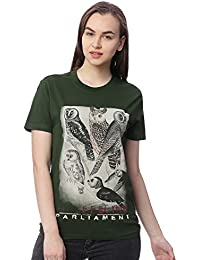 Wolfpack Owl Printed Round Neck Half Sleeves 100% Cotton Army Green Girls/Women T-Shirt for Bird Lovers