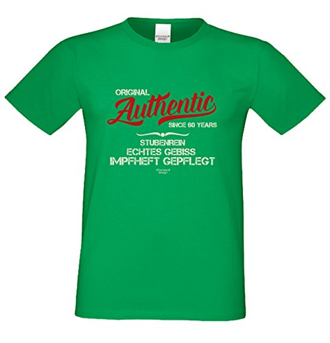 Authentic Since 60 Years Trendiges Herren-Fun-Sprüche-T-Shirt - Geburtstagsgeschenk Weihnachtsgeschenk - Geschenk für Männer Farbe: hellgrün Hellgrün