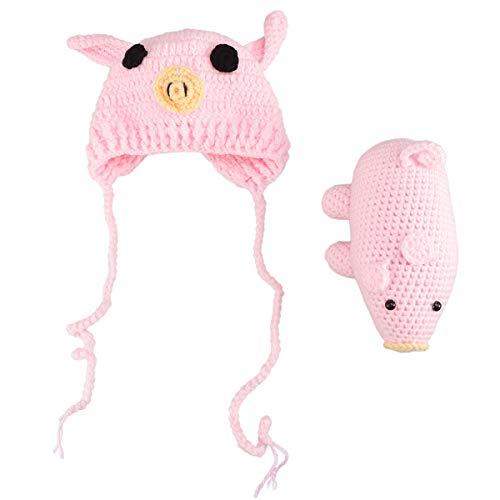 LUOEM Neugeborenes Baby Fotografie Prop häkeln Hüte Ferkel Kostüm Outfits Set Kleinkind Photoshoot Sets (Pink)
