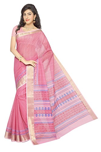 Rani Saahiba Cotton Saree With Blouse Piece (SKR1404_Pink_One Size)