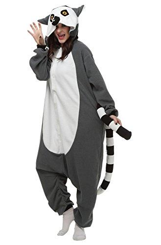 Tier Kostüme Lustige (Aivtalk Tier Kostüm Pyjamas Schlafanzug Erwachsene Unisex Fleece-Overall Tier Onesie Halloween Karneval Cosplay Sleepsuit Jumpsuits - Grau)