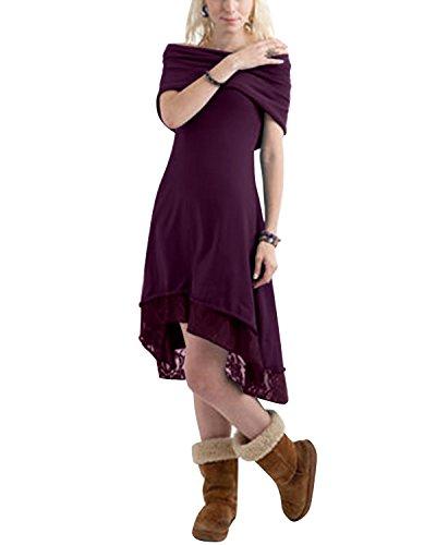 BIUBIU Damen Spitze Hoodie Kapuzenpullover Schulterfrei Jumper Pulli Sweatshirt Kleid Lila DE 34 (Lila Pullover Kleid)