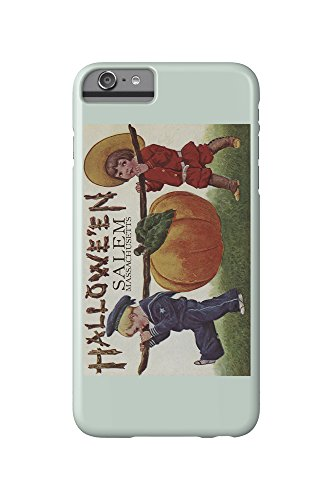Salem, Massachusetts - Halloween Kids and Pumpkin - Vintage Postcard (iPhone 6 Plus Cell Phone Case, Slim Barely There)