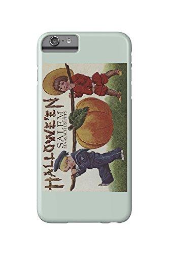 Salem, Massachusetts - Halloween Kids and Pumpkin - Vintage Postcard (iPhone 6 Plus Cell Phone Case, Slim Barely - Salem An Massachusetts Halloween