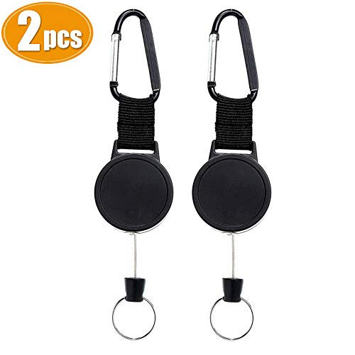 Ausweisjojo Ausziehbar Schlüsselanhänger mit Zugband Schlüssel mit Stahlseil-Schwarz 2 Stück