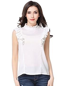 Glorria Women Elegant Chiffon Ruffles Sleeveless Blouses Summer Casual Fashion Wear to Work White Shirts