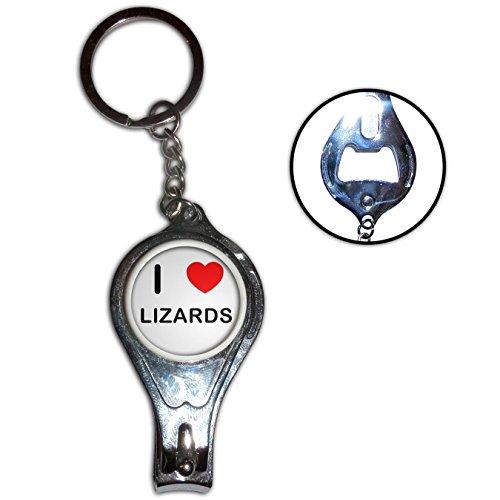 I Love Heart Lizards - Nagelknipser Flaschenöffner Metall-Schlüsselanhänger (Lizard Bekleidung)