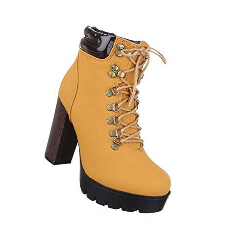 Damen Boots Stiefeletten Schuhe Schnür Plateau Schwarz Camel 36 37 38 39 40 41 Camel
