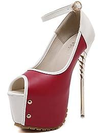 ZQ Zapatos de mujer-Tac¨®n Stiletto-Punta Abierta / Confort-Tacones-Vestido / Fiesta y Noche-PU-Negro / Azul / Rojo…