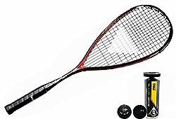 Tecnifibre Carboflex 125 S Raqueta De Squash + Dunlop Pro Pelotas De Squash 3, 6 o 12 - 3 Balls - Equilibrio 350 5mm - Basaltex para reducir choque y mejor sensación - Como usa por Mohamed El Shorbagy, mundo nº 1 - Pre-atados en las últimas Tecnifibr...