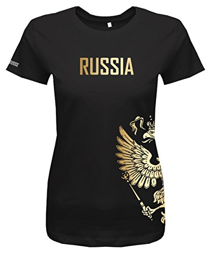 Jayess WM 2018 - Russland - Russia - Adler Gold - Fanshirt - Damen T-Shirt in Schwarz by Gr. S