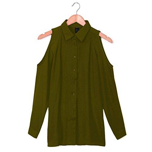 Bigood T-shirt Epaule Dénudée Femme Mousseline de Soie Chemise Blouse Top Manches Longues Vert