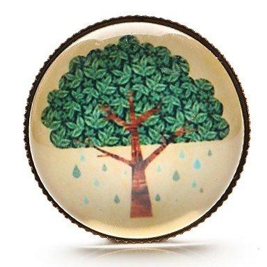 tempo spilla cabochon in vetro albero albero della vita gioiello dell'arte (1 pezzo) , green-one size , green-one size