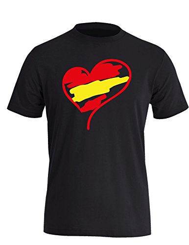Europameisterschaft 2016 Spanien Herz - Herren Rundhals T-Shirt Schwarz/Rot-gelb
