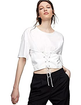 Moda Cordón Cordones Lazada Delantera Tummy Control Cintura Cincher Estilo Manga Corta T-Shirt Camiseta Playera...