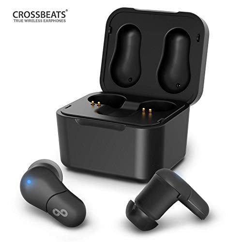 CrossBeats Air True Wireless Bluetooth Earphones Earbuds Headphones with Mic and Portable Charging Dock (Black)