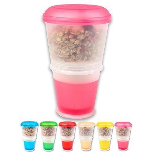 S/O® Joghurtbecher 6 Farben to go Müsli-to-Go Müslibecher mit integriertem Kühlfach und Löffel Müslischale Joghurt Becher Müslibehälter Joghurtbehälter für unterwegs , Farbe:Pink