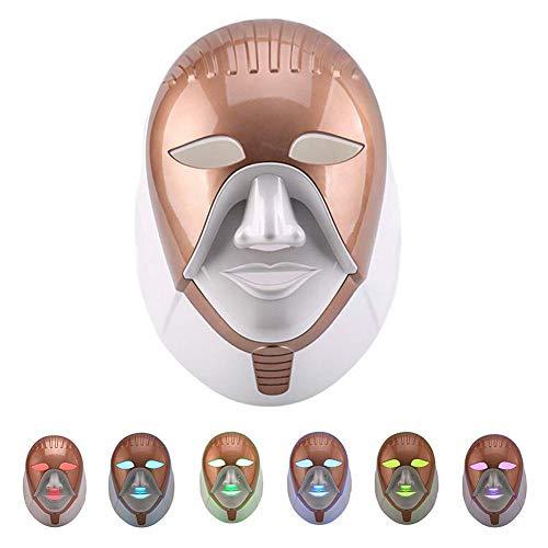7 Farben LED Photon Maske, 7 Farben Lichttherapie Maske LED Gesichtsmaske Lichtbehandlung Gesicht Haut Verjüngungs Hautstraffung Hals Anti Falten Akne Schönheit Maschine Spa Salon Hautpflege Werkzeuge -