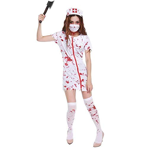 Kostüm Nurse Night Womens - Hcxbb-b Kostüm, Ladies Dead Zombie Nurse T-Shirt, Halloween-Kostüm-Outfit (Farbe : White, Size : M)