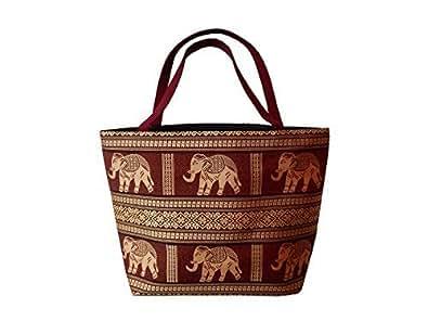 """Tote handbag with Thai elephants, red, 16,5""""x11,8"""" (l x h)"""