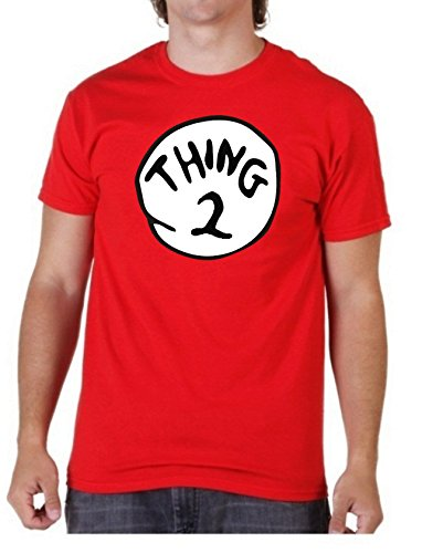 """Weltbuchtag T-Shirt mit Aufdruck """"Thing 2"""", Rot, Unisex, Kinder und Erwachsene (3–4bis XXL Größen) Größe L rot ()"""
