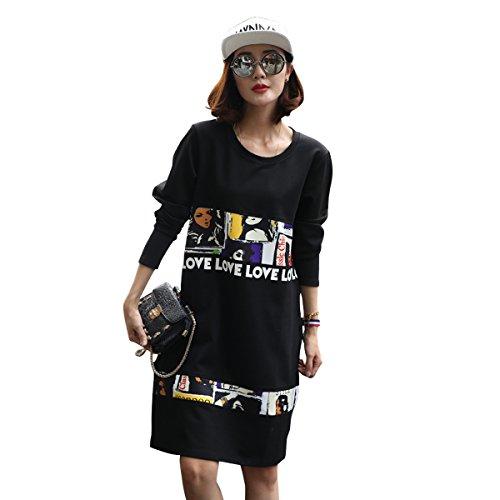 Aiyijian donne manica lunga girocollo vestito largo6811 (XXXL)