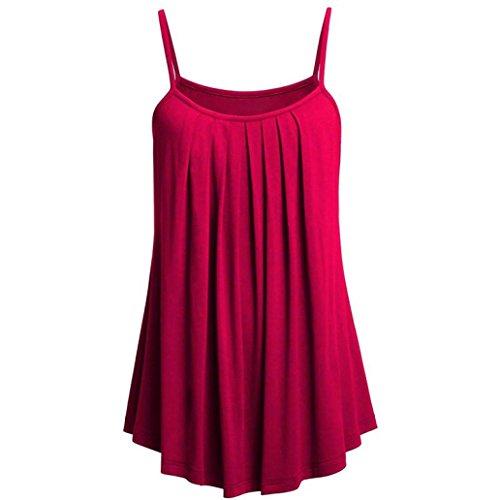 VEMOW Sommer Frauen Damen Elegante Lose Leibchen Damen Einfarbig Tank Tops Plus Größe S ~ 6XL Vintage Tunika Hemd T-Shirt (EU-50/CN-4XL, G) (Plus Größe Tank-tops Mit Totenköpfen)