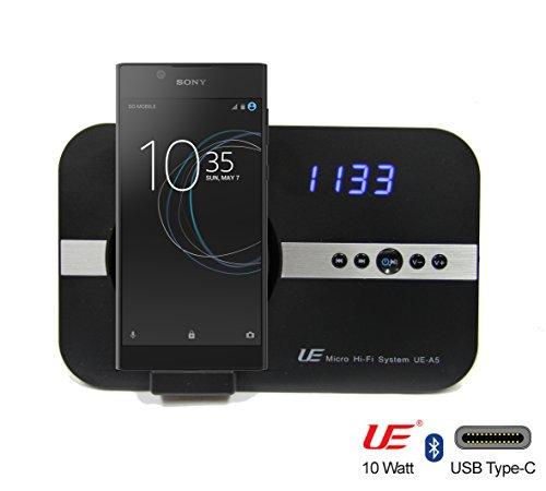 Preisvergleich Produktbild 10 Watt Sound System mit Alarm Uhr Radio USB C für Sony XPeria XZ1 Compact Premium XZs XA1 Plus Ultra L1 XZ XZs X Compact mit USB Typ-C flexibler Schnittstelle & Bluetooth Interface Stereo Fernbedienung, Wecker Hi-Fi Tube Soundsystem - schwarz USB C