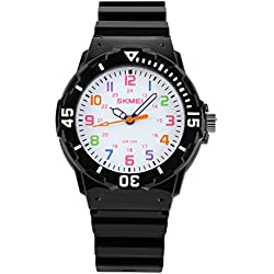 Sencee Fashion Cute niños niñas estudiantes muñeca relojes Casual relojes de pulsera Relojes Cuarzo Impermeable reloj negro
